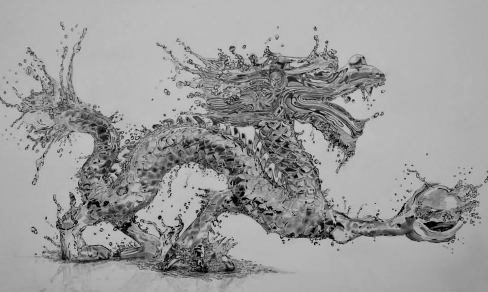dragon splash pencil drawing