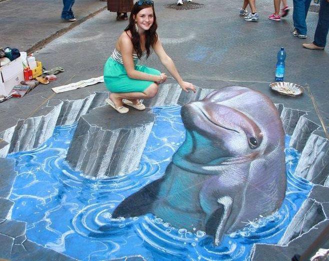 girl 3d street art