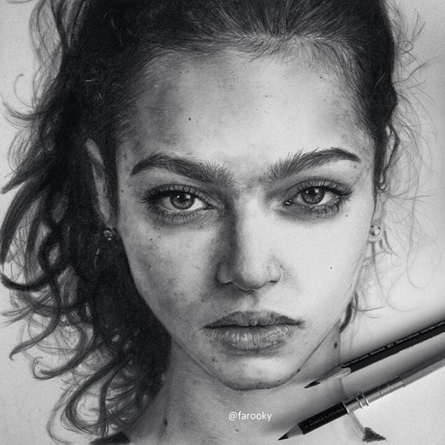 Girl pencil drawing by farooky