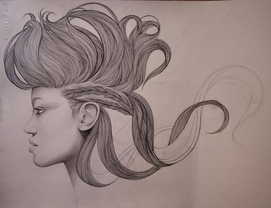 hairstyle pencil drawing by mercedes