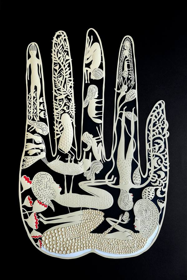 hand cut paper sculptures