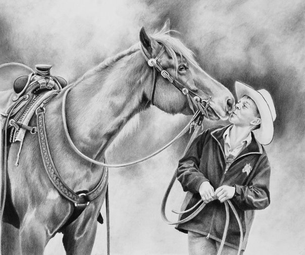 horse and man pencil drawing