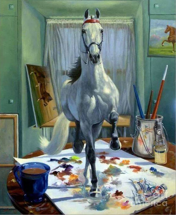 horse painting by jeanne