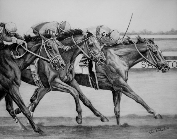horse race pencil drawing