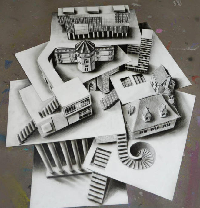 house 3d pencil drawing by ramon