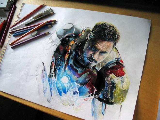 iron man color pencil drawing by andrea
