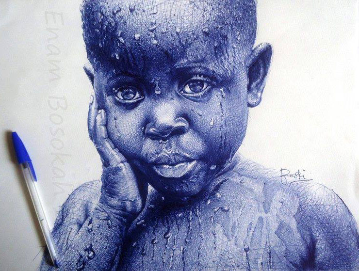 little boy pen drawing