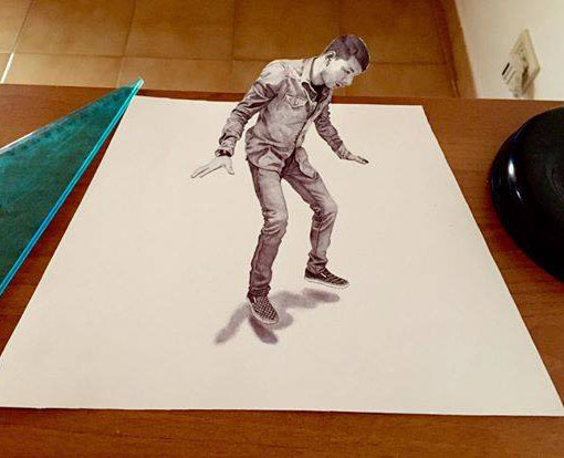 man pencil  3d drawing by louis