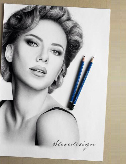 Modern woman pencil drawing by stevedesign