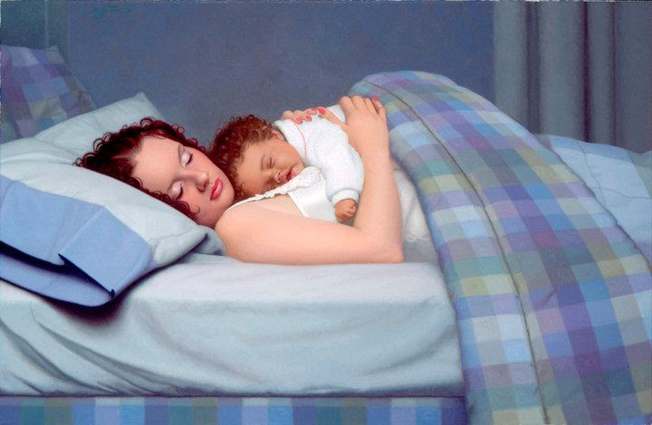 mother with baby painting
