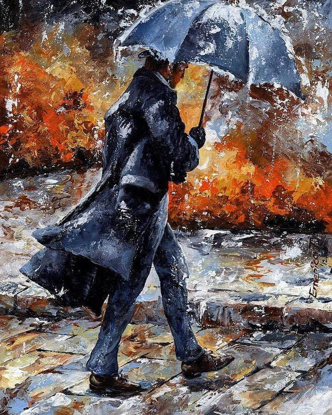 rain man water color painting by emerico