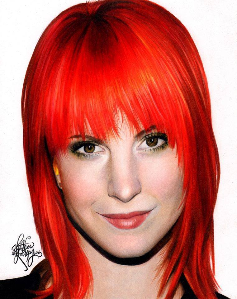 red haired girl colored pencils