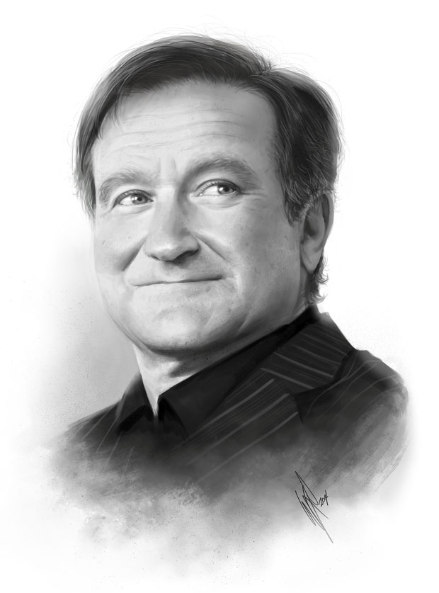robin williams pencil drawing