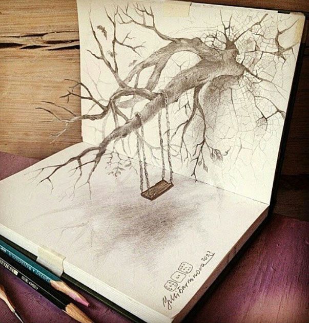 3d pencil drawing by juliabarminova