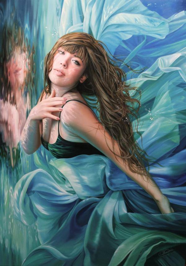 water girl painting by christiana