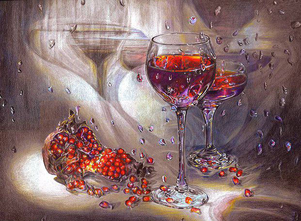 wine color pencil drawing by maria