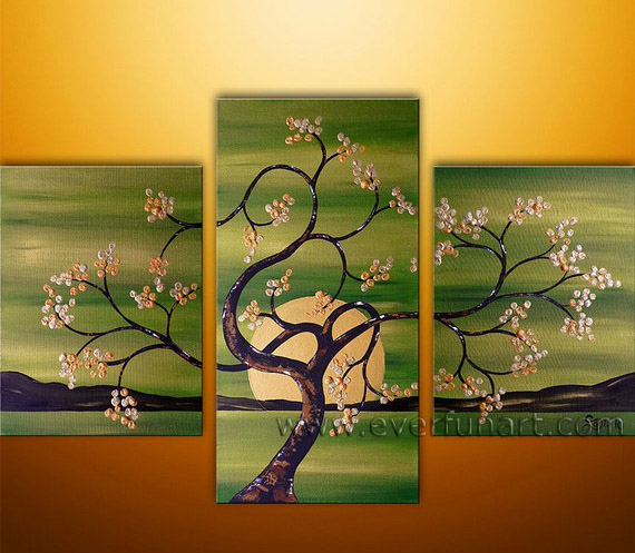 multi panel painting tree