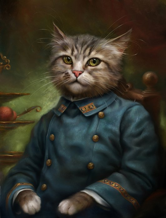 funny painting majestic cat