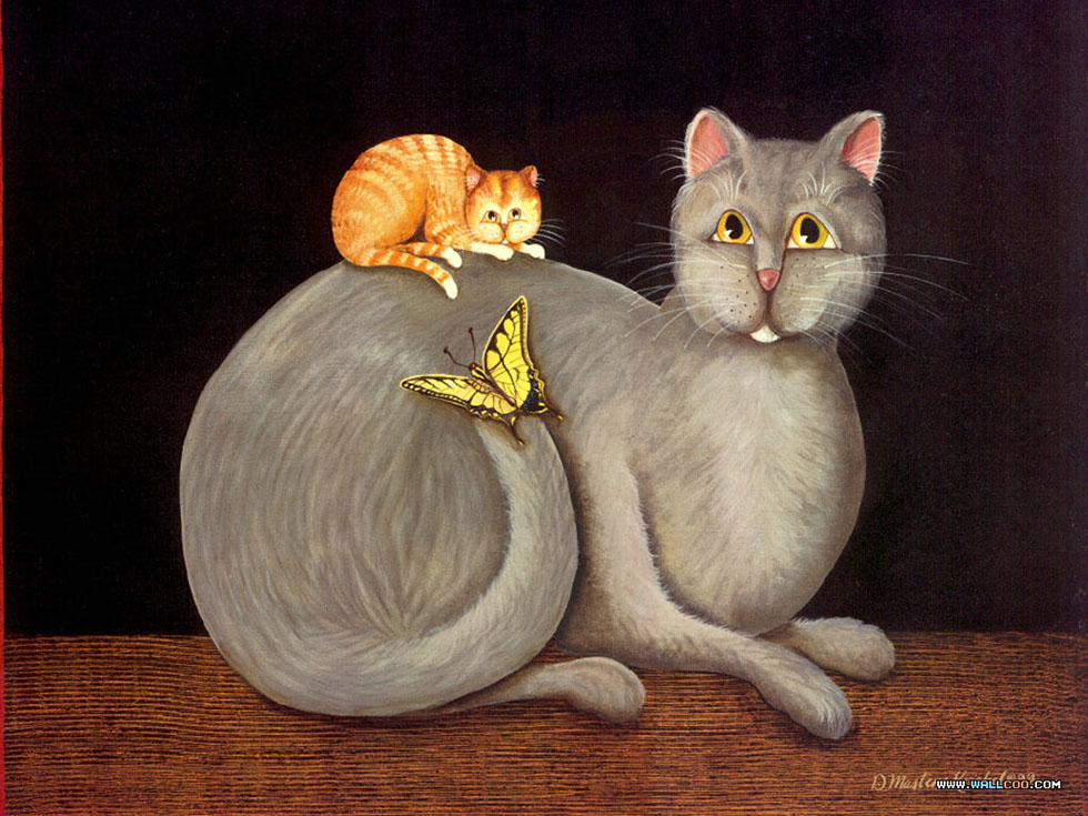 funny paintings cats and butterfly