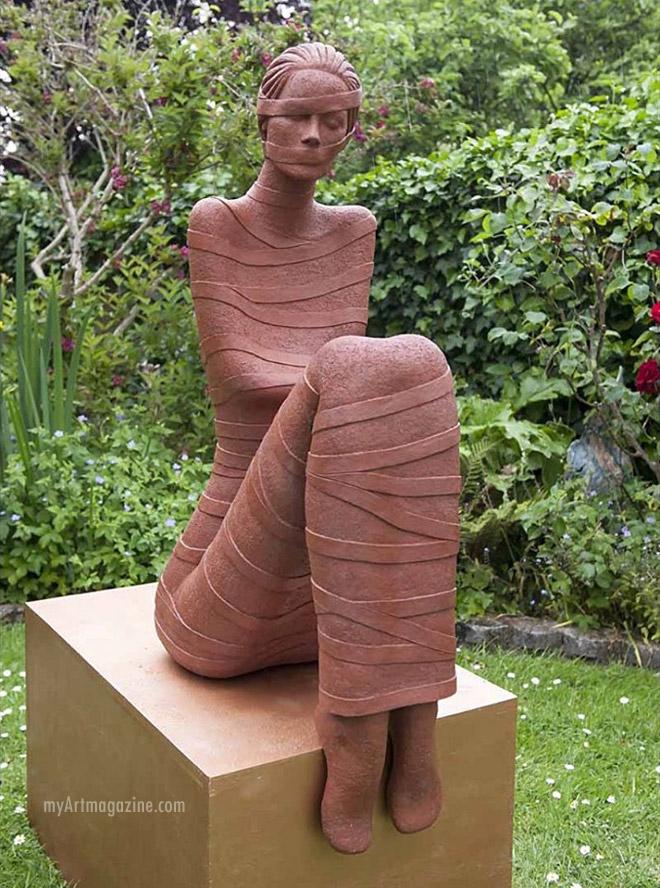 sculpture terracotta pondering by ferri farrahmandi