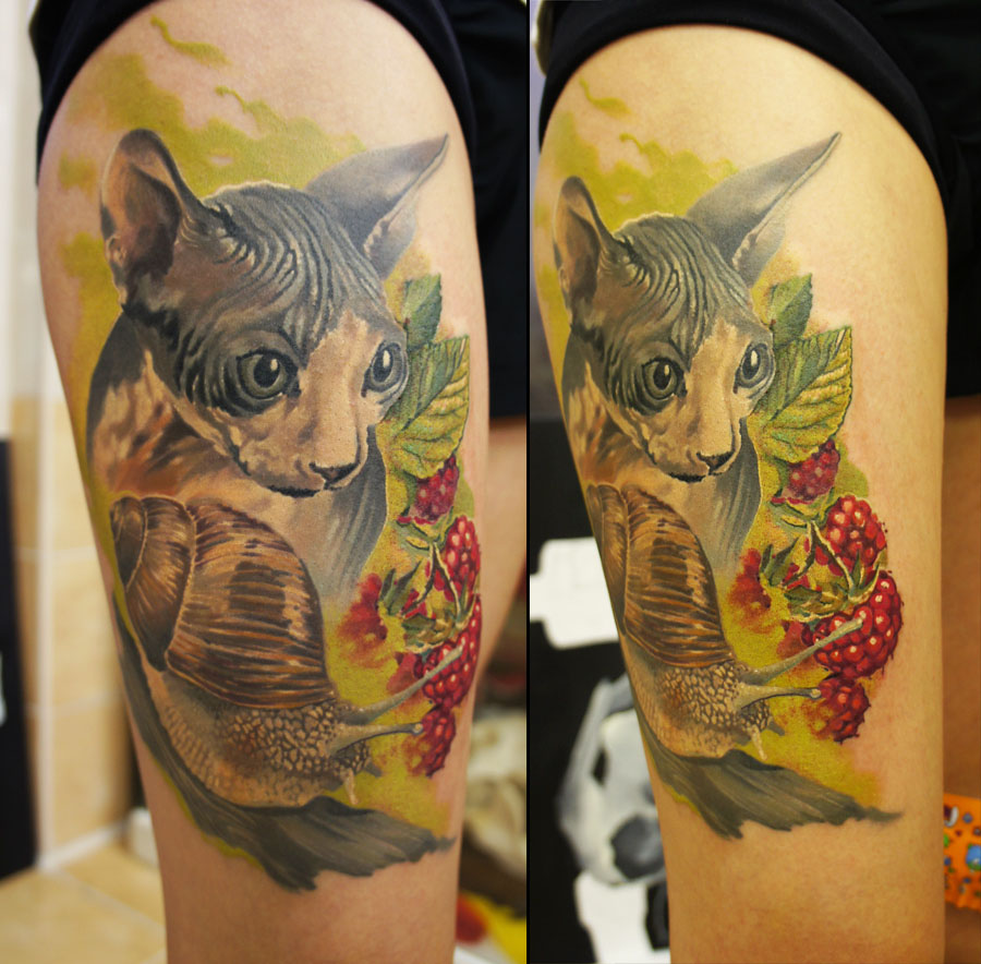 tattoos for men cat artwork by grimmy