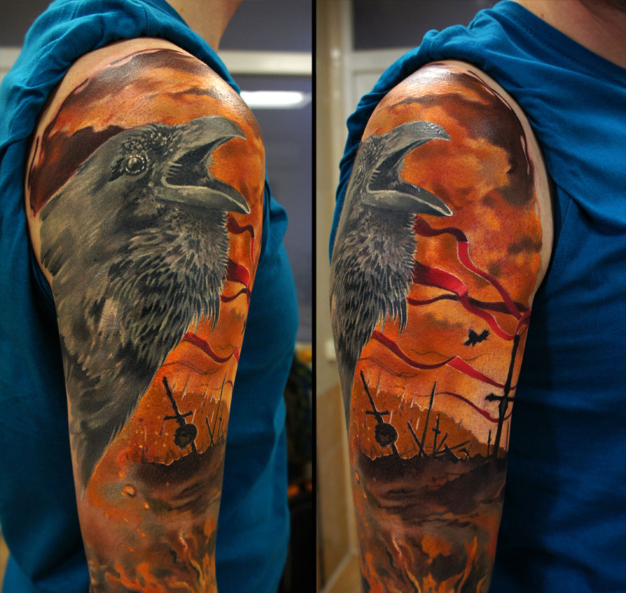 tattoos for men raven artwork by grimmy