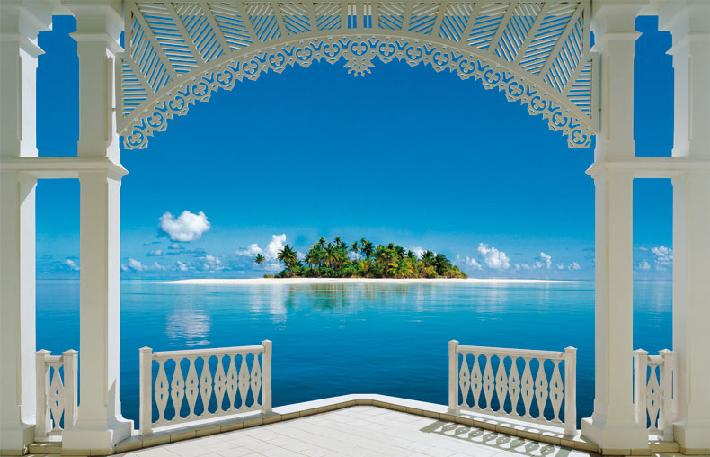 wall mural painting island view