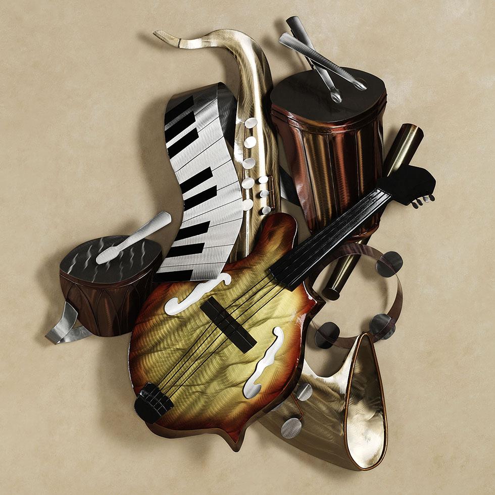 wall sculpture musical instruments