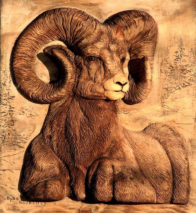 wood carving animal sheep