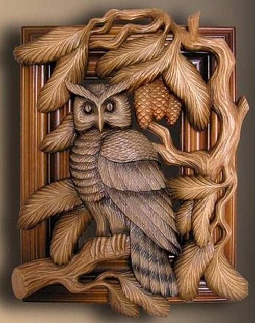 wood carving art bird owl