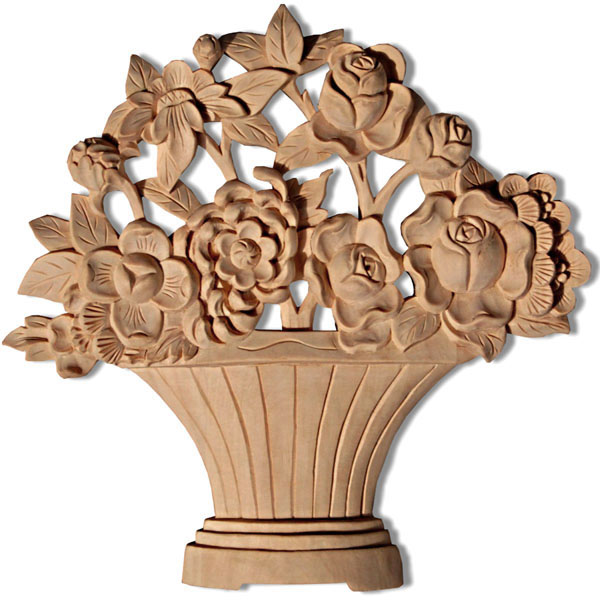wood carving basket and flower
