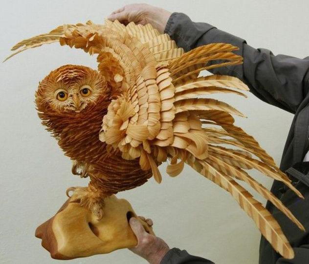wood carving bird owl