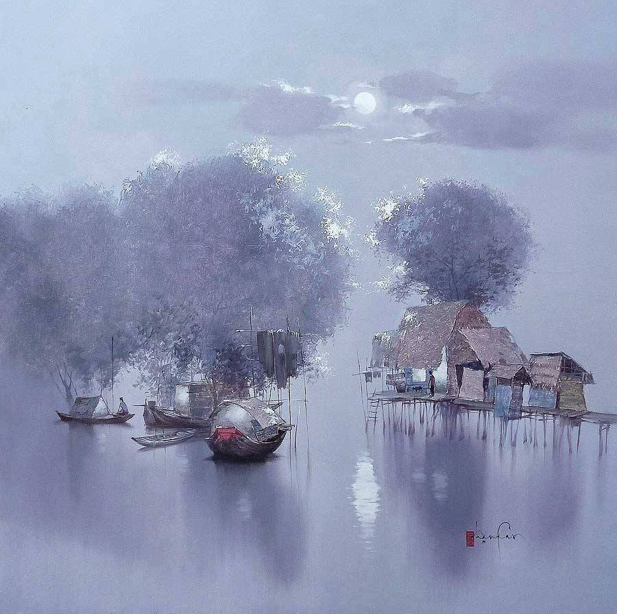 boat  watercolor paintings by dang can