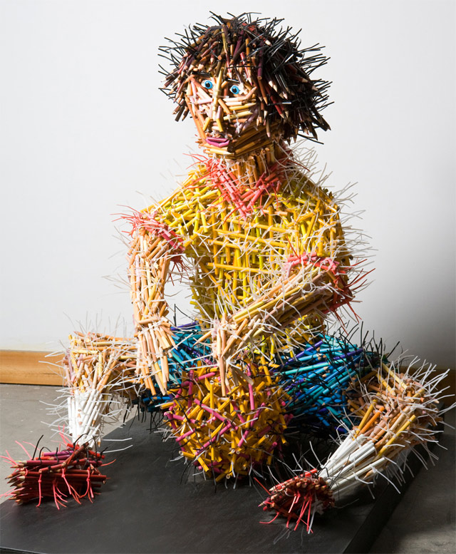 boy pencil sculptures