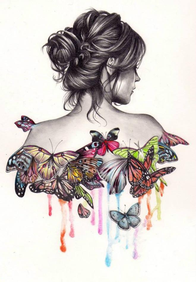 butterfly girl drawing by kate