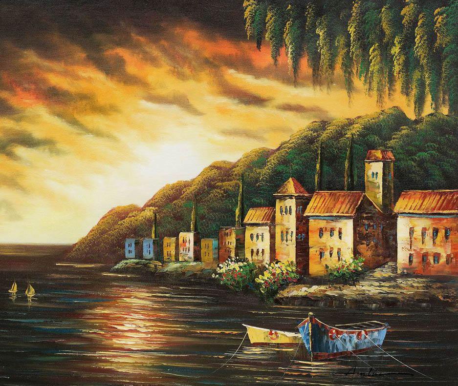 coastline sunset oil paintings