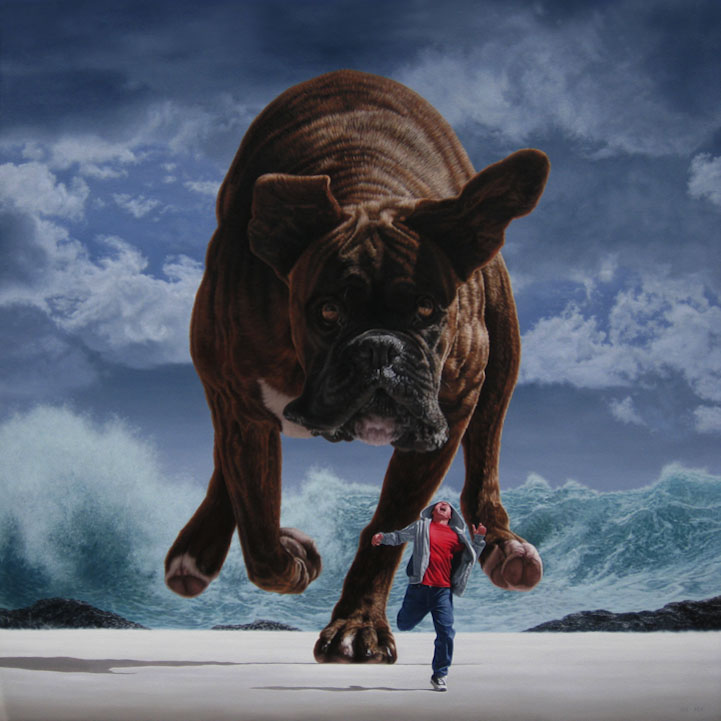 dog surreal paintings by joel