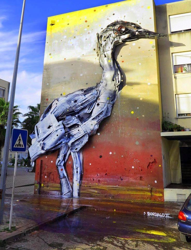 duck street art by bordalo