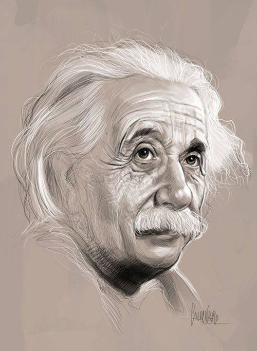 einstein pencil drawings