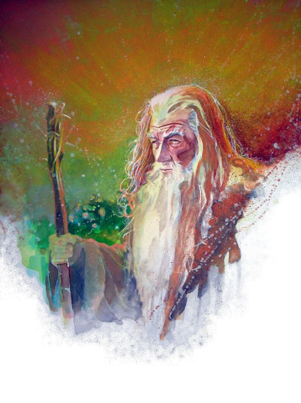 gandalf watercolor by markmchaley