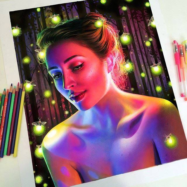 girl color pencil drawings