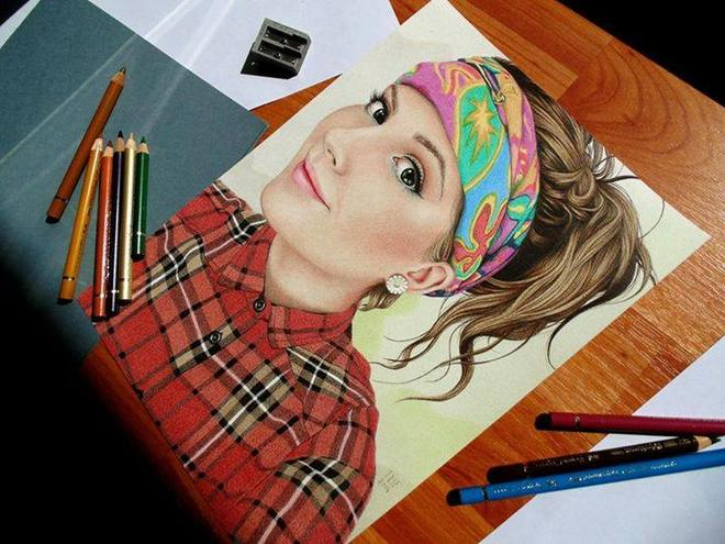 girl color pencil drawings by trif