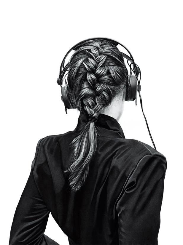 girl with headset drawing by yanni