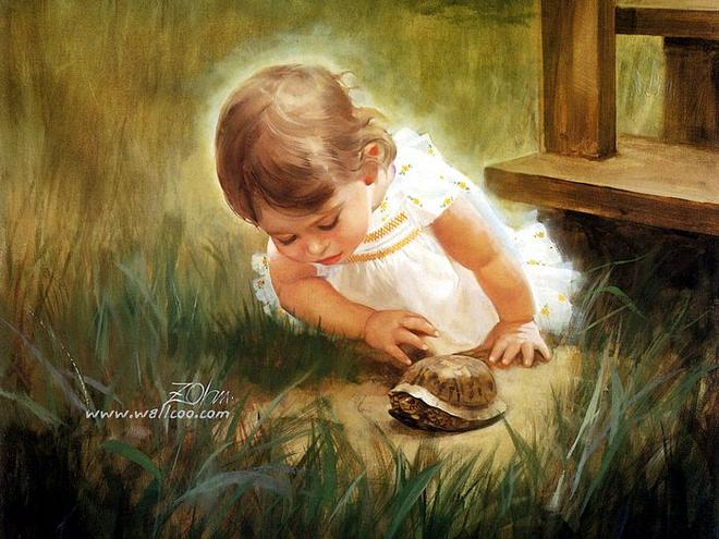 girl playing oil painting by donald