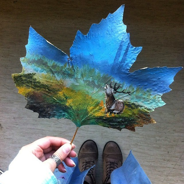 leaf paintng by moanart