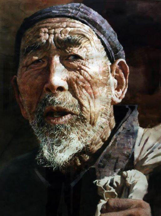 old man watercolor paintings