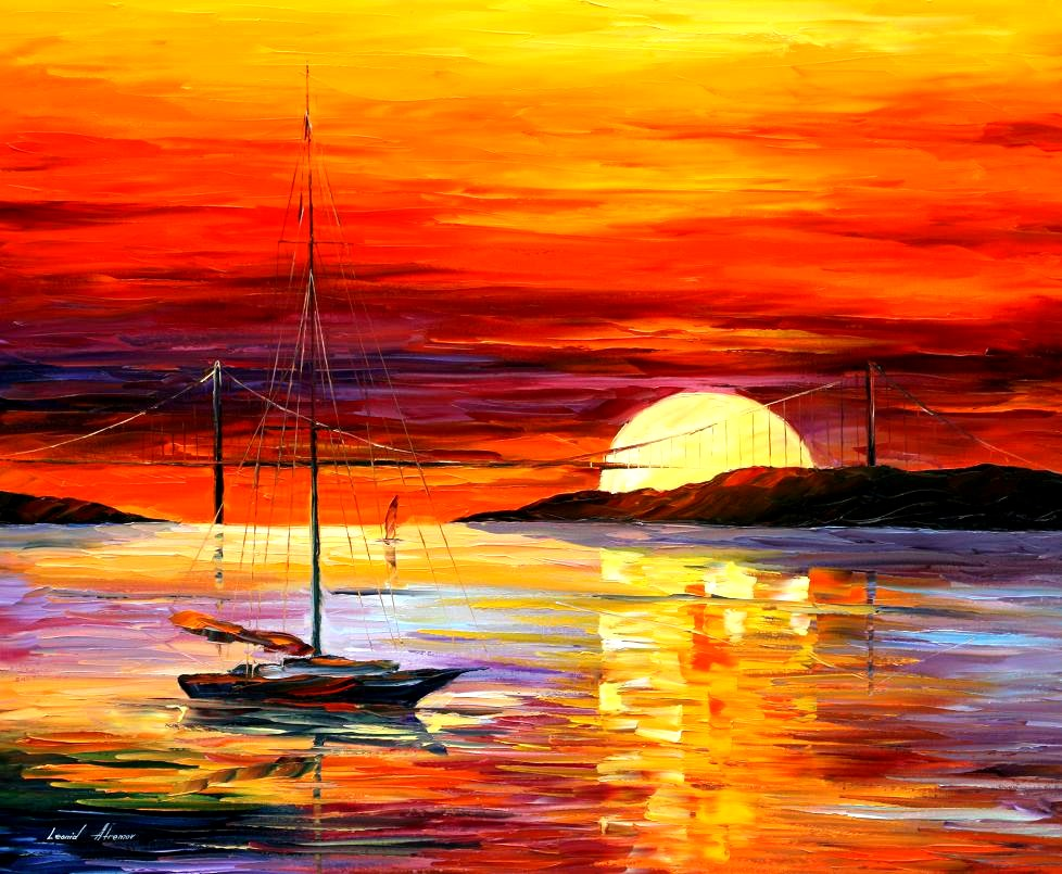 sunset oil paintings by leonid