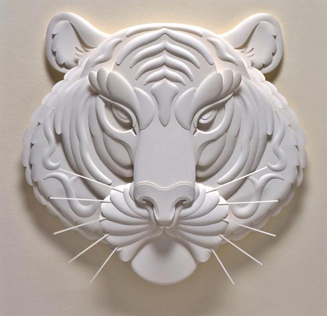 tiger paper sculpture by jeff