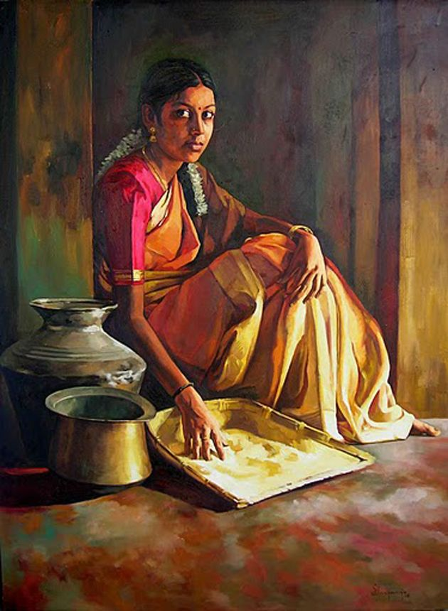 traditionl girl oil paintings