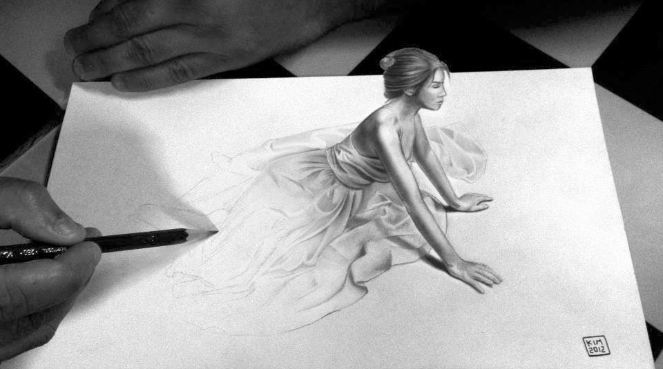 woman 3d drawing